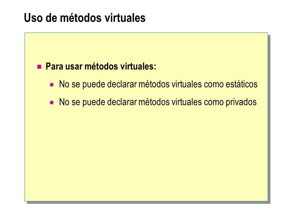 Uso de métodos virtuales