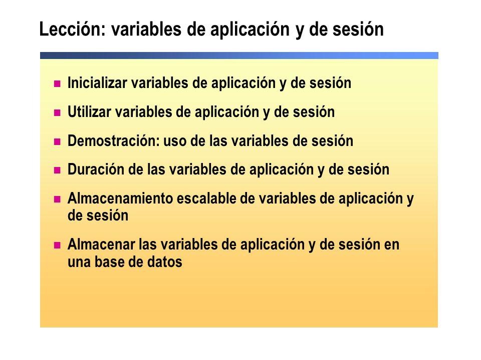 Lección: variables de aplicación y de sesión