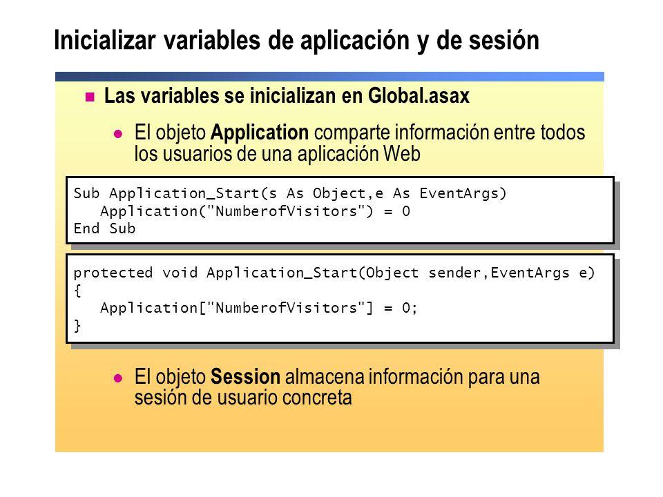 Inicializar variables de aplicación y de sesión