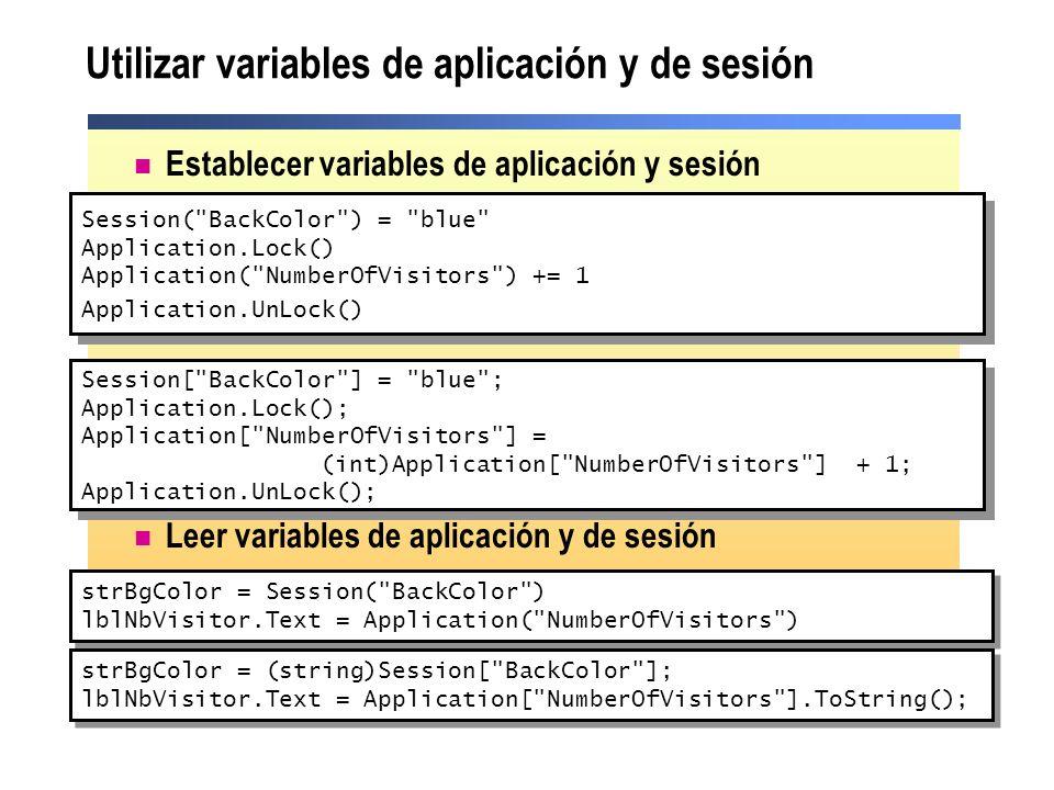 Utilizar variables de aplicación y de sesión