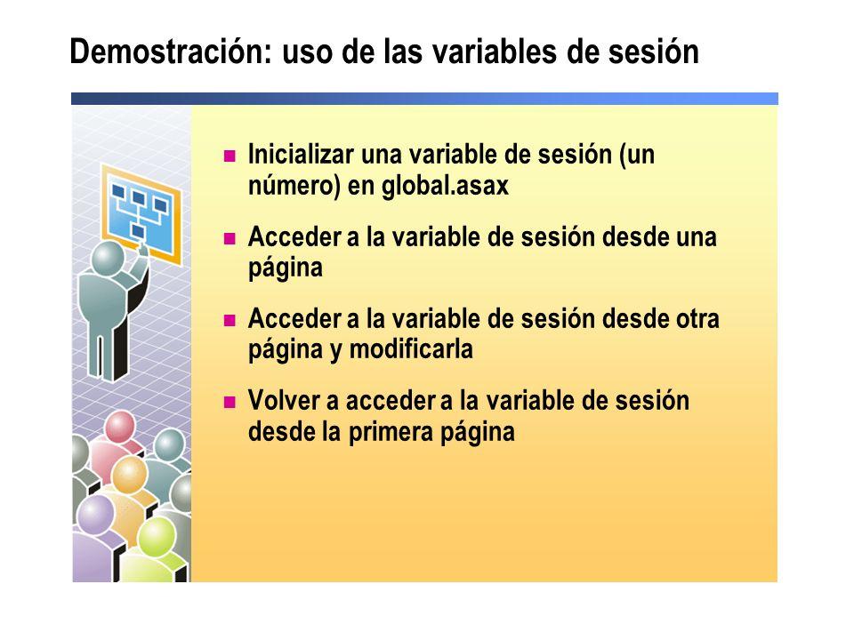 Demostración: uso de las variables de sesión