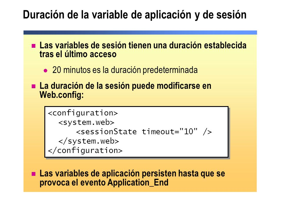 Duración de la variable de aplicación y de sesión