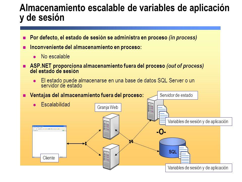 Almacenamiento escalable de variables de aplicación y de sesión
