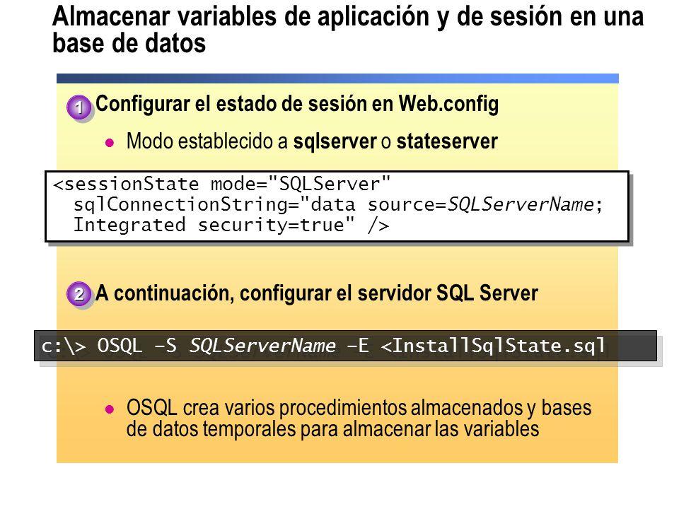 Almacenar variables de aplicación y de sesión en una base de datos