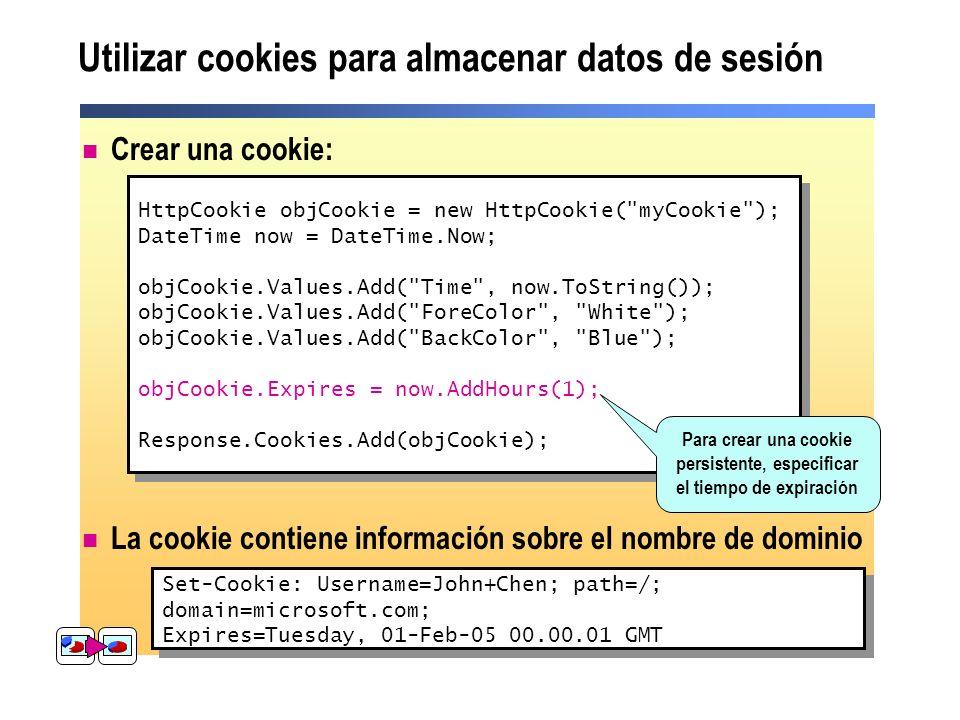 Utilizar cookies para almacenar datos de sesión