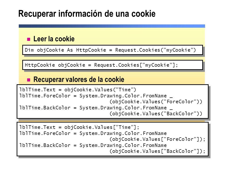 Recuperar información de una cookie