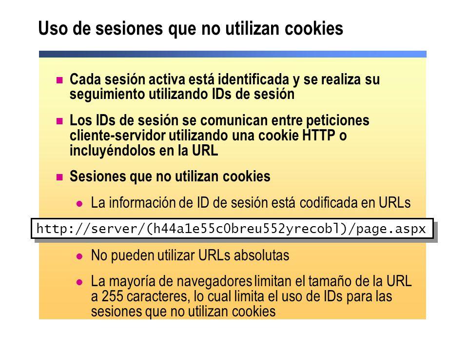 Uso de sesiones que no utilizan cookies