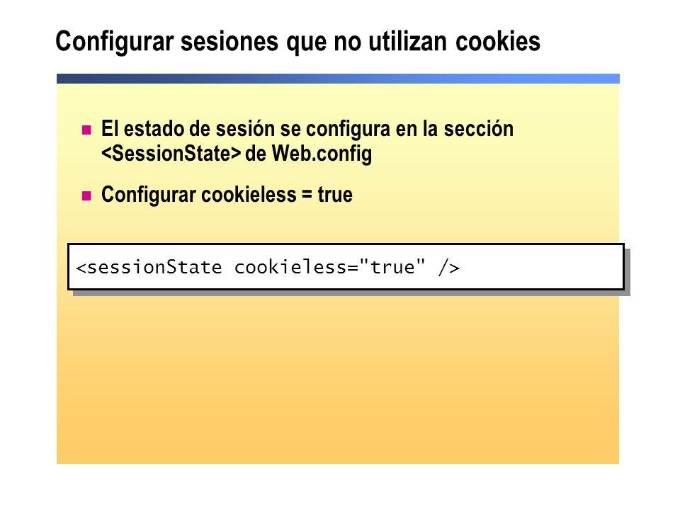 Configurar sesiones que no utilizan cookies