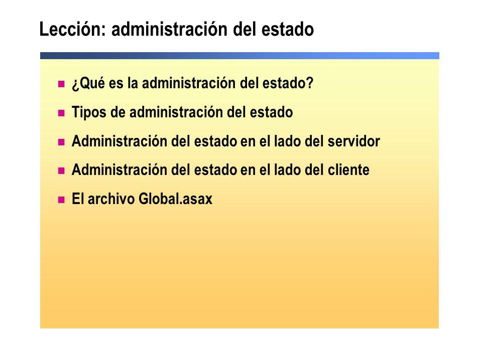 Lección: administración del estado