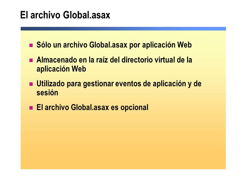 El archivo Global.asax Sólo un archivo Global.asax por aplicación Web