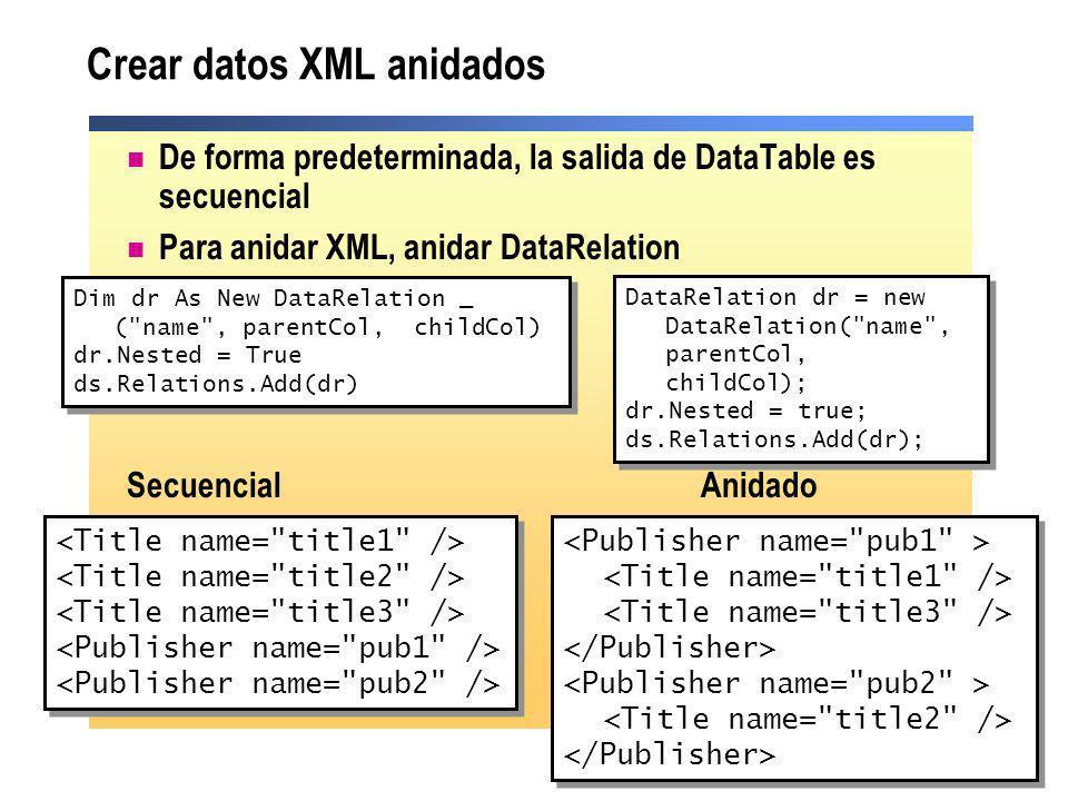 Crear datos XML anidados