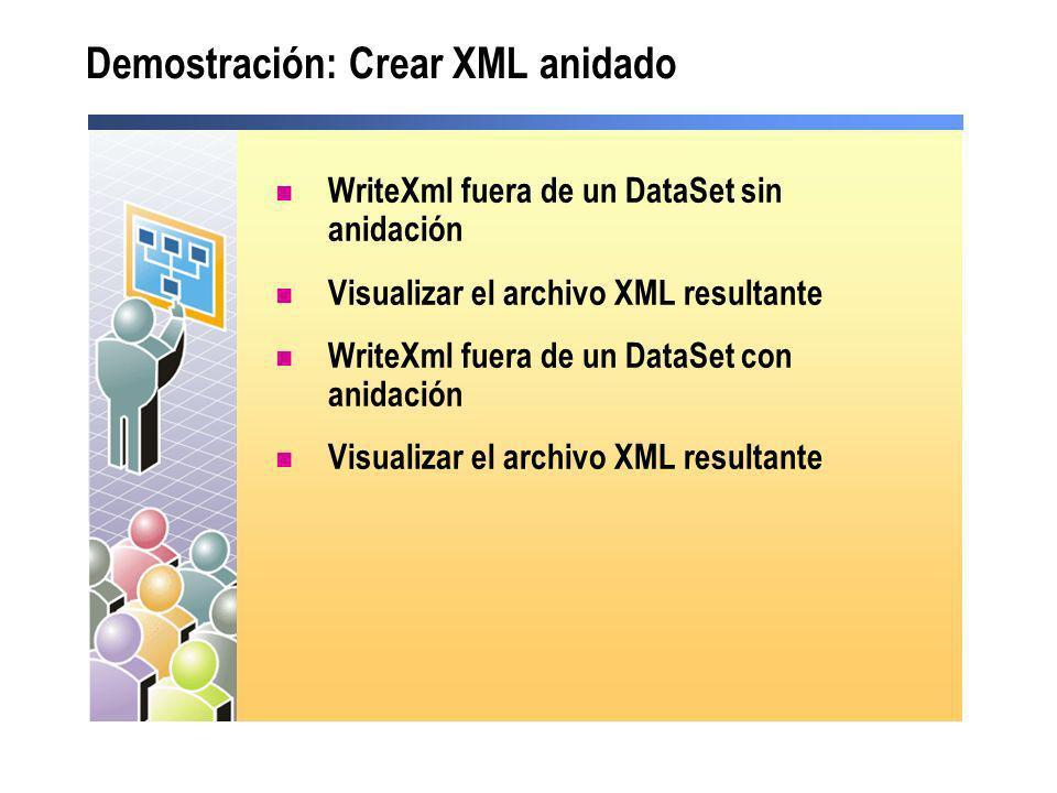 Demostración: Crear XML anidado