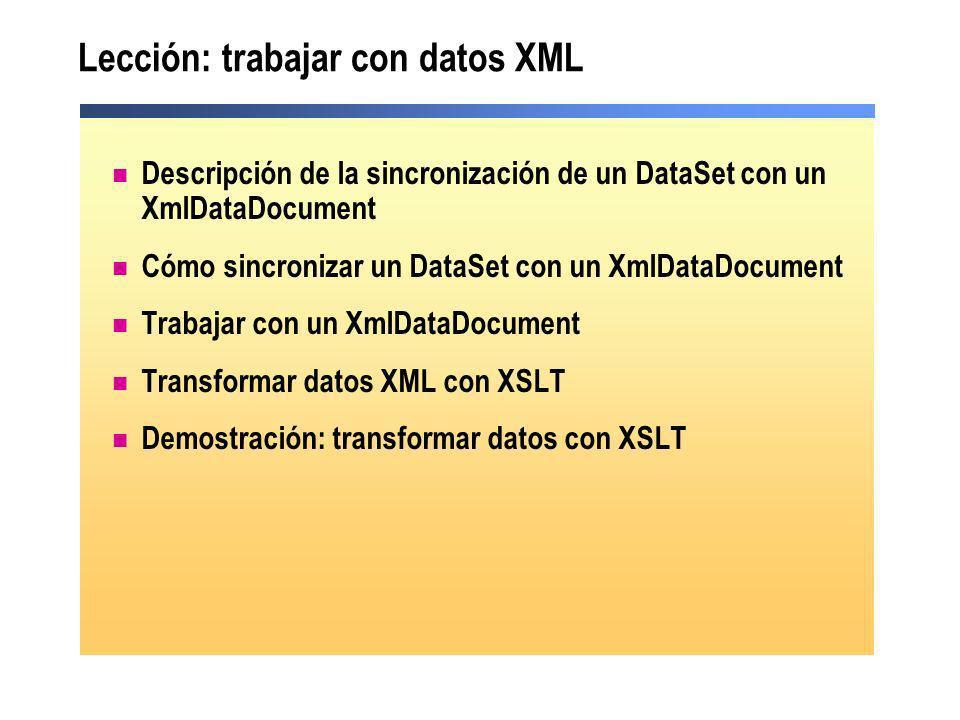 Lección: trabajar con datos XML