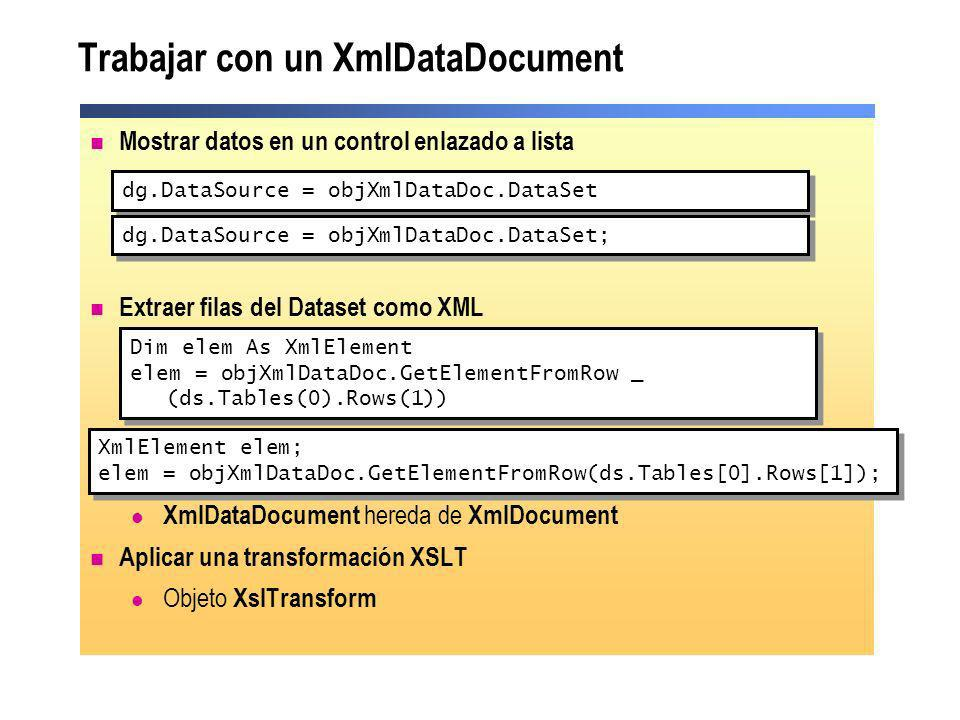 Trabajar con un XmlDataDocument