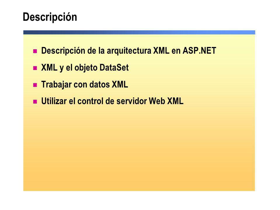 Descripción Descripción de la arquitectura XML en ASP.NET