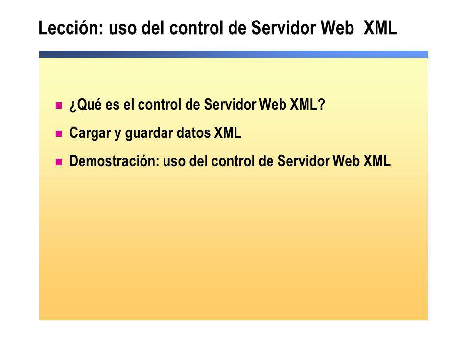 Lección: uso del control de Servidor Web XML