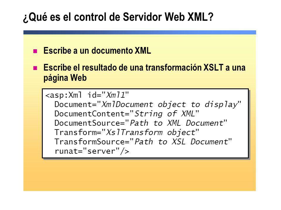 ¿Qué es el control de Servidor Web XML