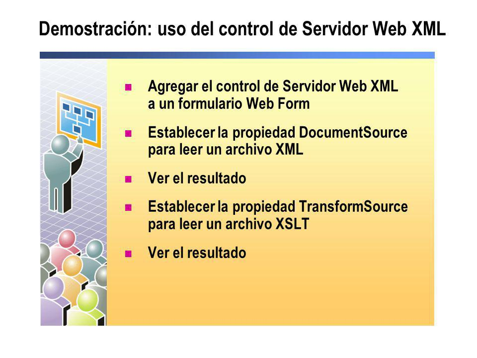 Demostración: uso del control de Servidor Web XML