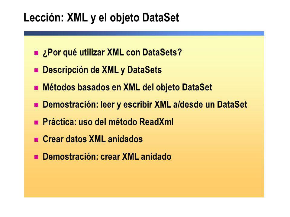 Lección: XML y el objeto DataSet