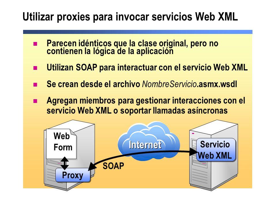 Utilizar proxies para invocar servicios Web XML