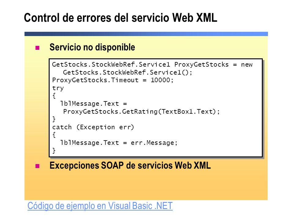 Control de errores del servicio Web XML