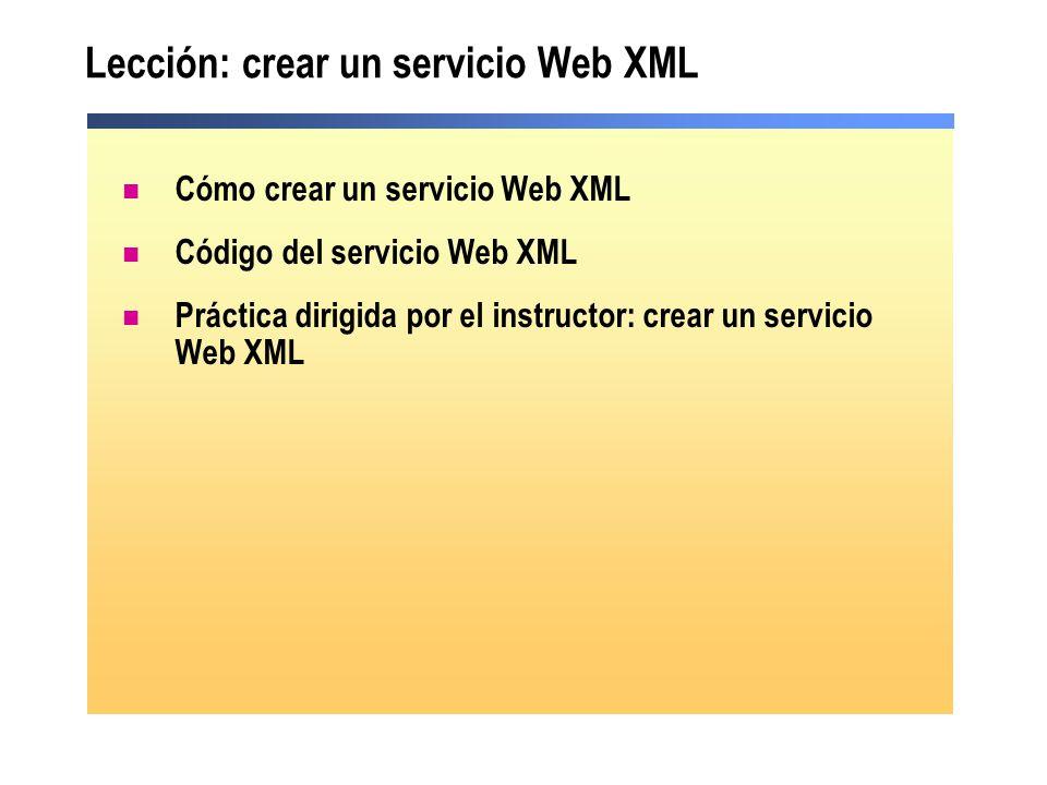 Lección: crear un servicio Web XML