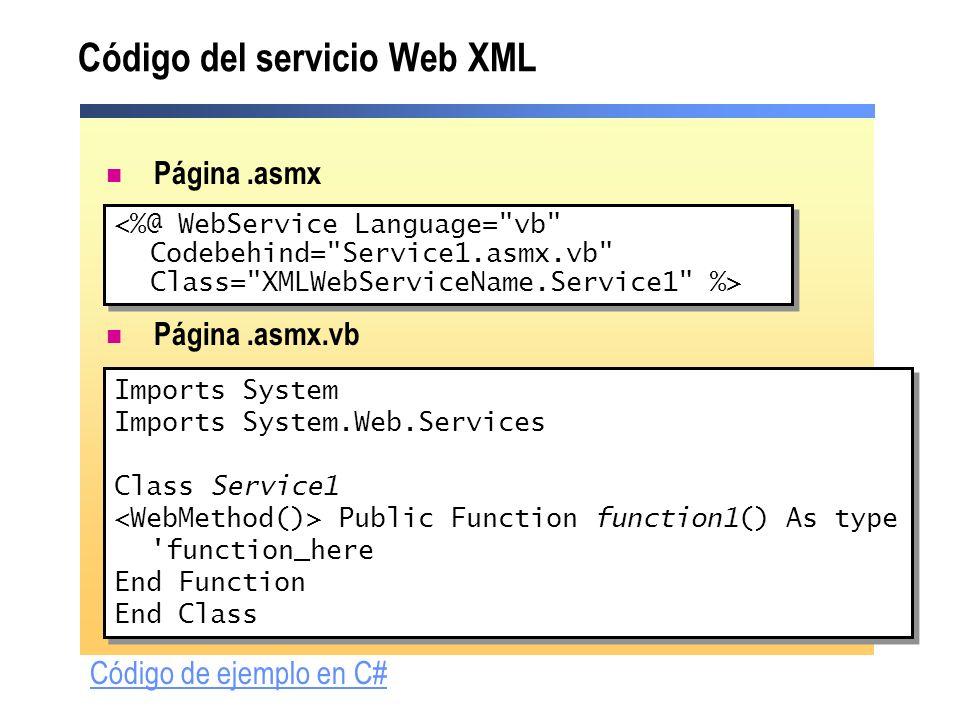 Código del servicio Web XML