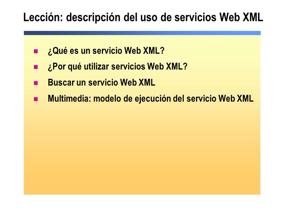 Lección: descripción del uso de servicios Web XML