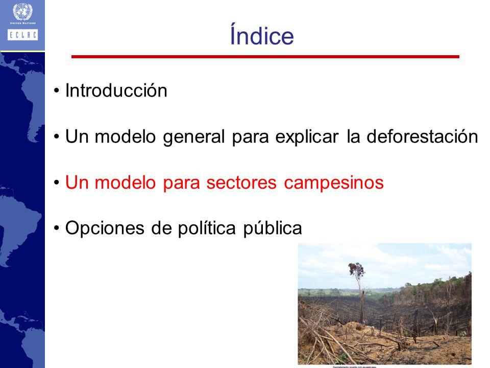 Índice • Introducción Un modelo general para explicar la deforestación