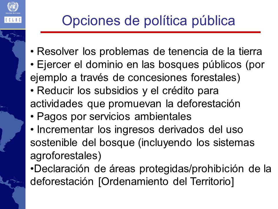 Opciones de política pública