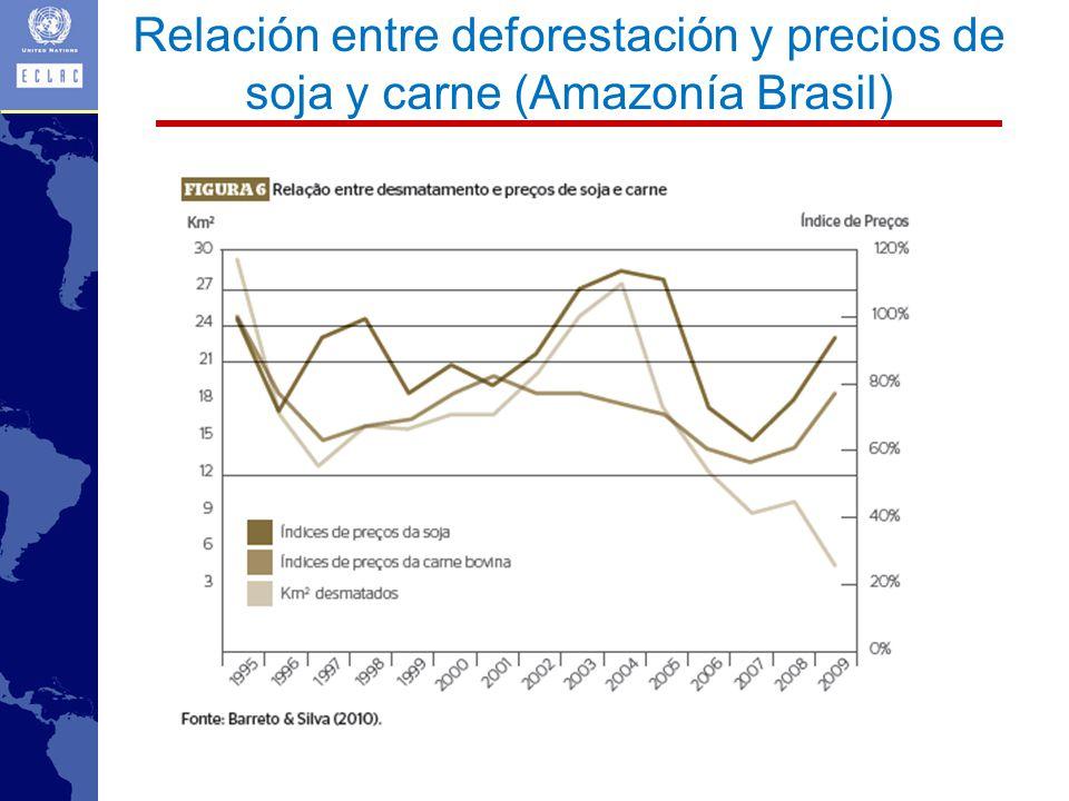 Relación entre deforestación y precios de soja y carne (Amazonía Brasil)