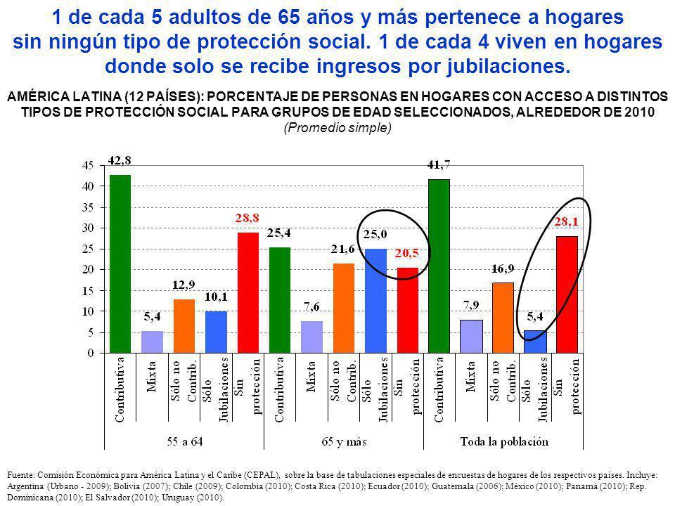 1 de cada 5 adultos de 65 años y más pertenece a hogares