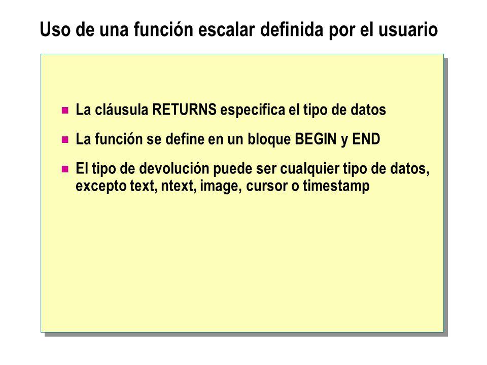 Uso de una función escalar definida por el usuario