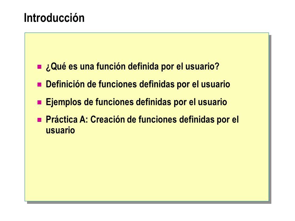 Introducción ¿Qué es una función definida por el usuario