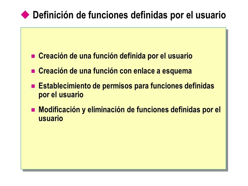 Definición de funciones definidas por el usuario