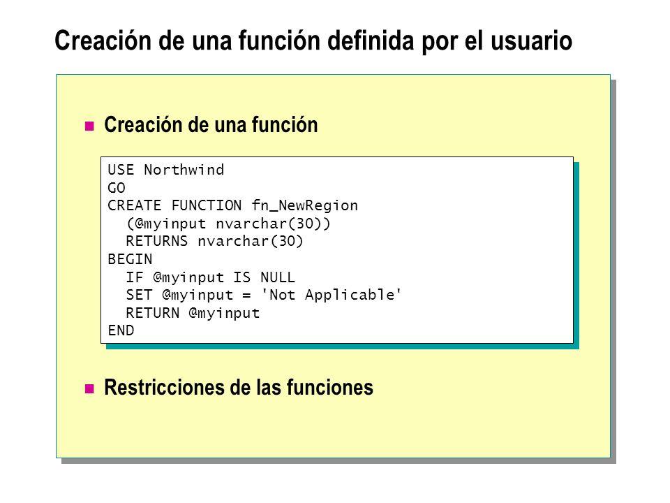 Creación de una función definida por el usuario