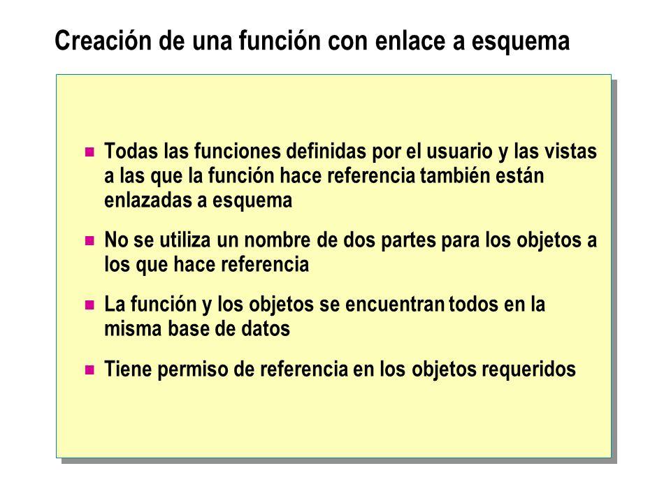 Creación de una función con enlace a esquema
