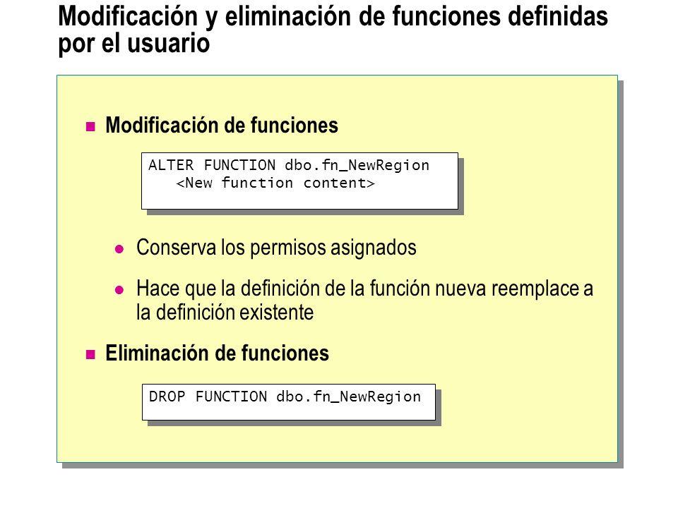 Modificación y eliminación de funciones definidas por el usuario