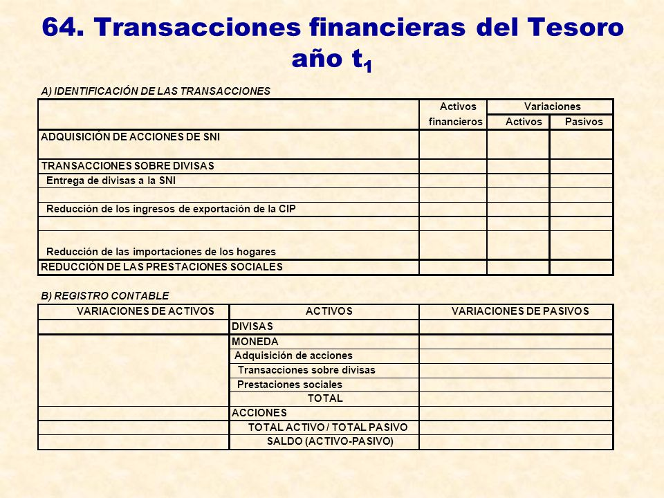 64. Transacciones financieras del Tesoro año t1