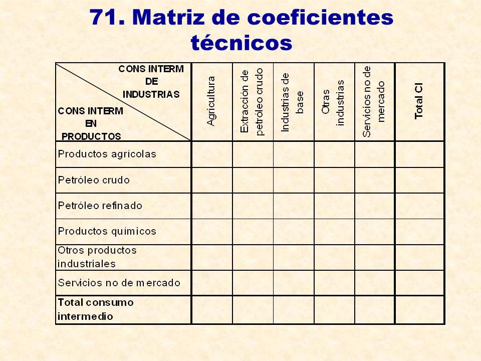 71. Matriz de coeficientes técnicos