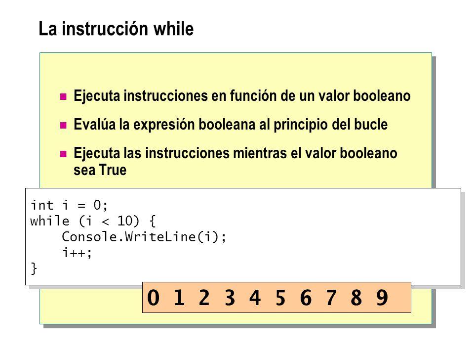 La instrucción while Ejecuta instrucciones en función de un valor booleano. Evalúa la expresión booleana al principio del bucle.