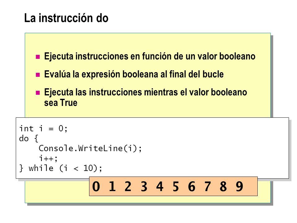 La instrucción do Ejecuta instrucciones en función de un valor booleano. Evalúa la expresión booleana al final del bucle.