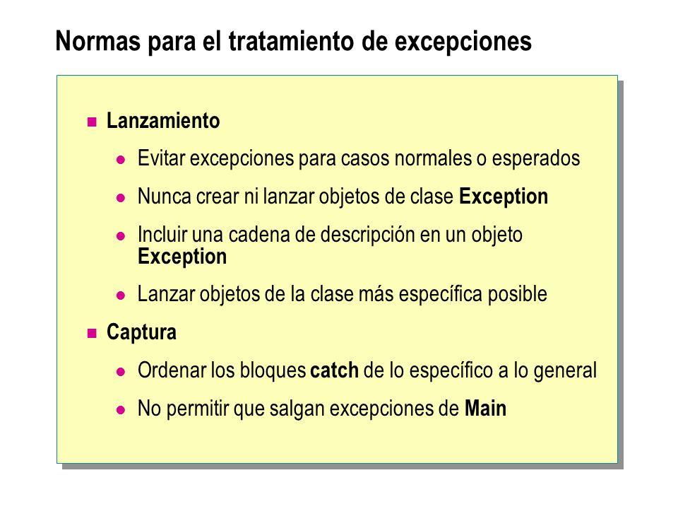 Normas para el tratamiento de excepciones