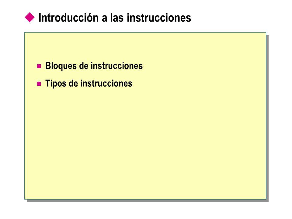 Introducción a las instrucciones