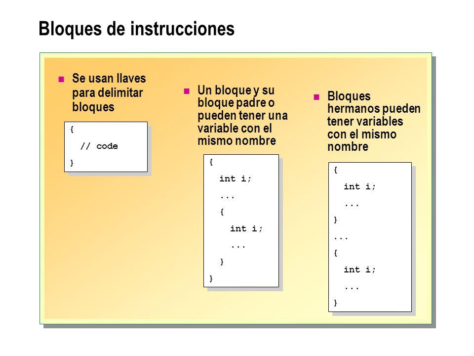 Bloques de instrucciones