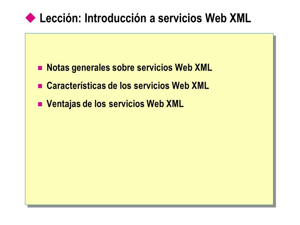 Lección: Introducción a servicios Web XML