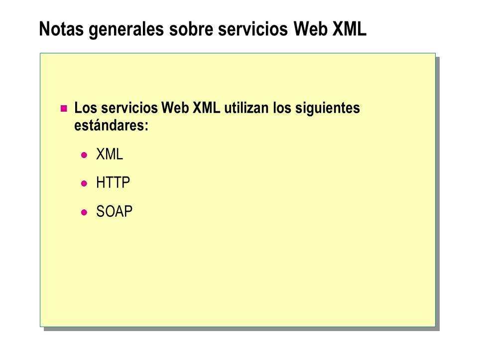 Notas generales sobre servicios Web XML