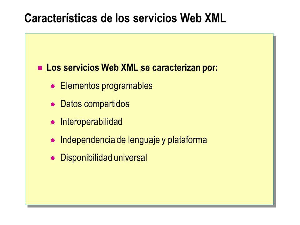 Características de los servicios Web XML