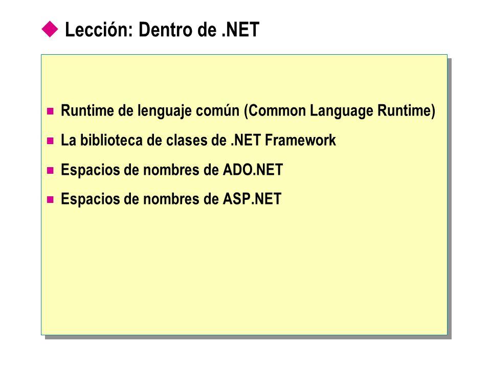 Lección: Dentro de .NET Runtime de lenguaje común (Common Language Runtime) La biblioteca de clases de .NET Framework.