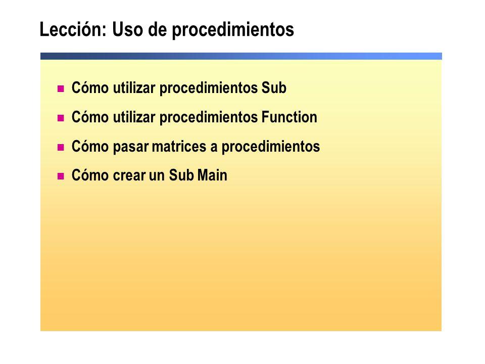 Lección: Uso de procedimientos